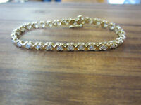 "4.00 Carat 14k Yellow Gold ""XO"" Tennis Bracelet 7.5"""