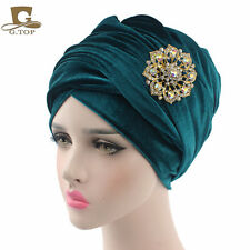 Head Wrap Extra Long velour tube Headwrap Scarf Tie with jewelry brooch