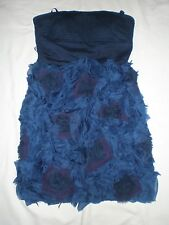 BNWOT BCBG MAXAZRIA Blue Boned Bandeau Dress  UK 6 XS  Flower Tiered Mini Prom