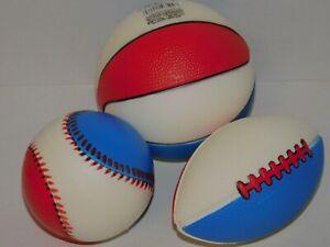 Preschool Football Basketball & Baseball THREE Foam Balls