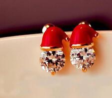 Crystal Santa Hat Christmas Earrings Novelty Stud Earrings Party Jewelry 1 Pair