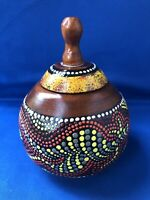 Australian Wooden Wood Highly Decorated Pot With Lid Raised Dot Designs Signed