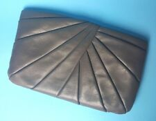 Anne Klein Calderon Gray Vintage Pleated Clutch Purse Convertible Strap Handbag