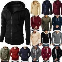 Mens Slim Fit Hoodie Coat Top Military Jacket Winter Hooded Stand Collar Outwear