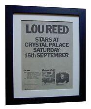 LOU REED+TRANSFORMER+TOUR+POSTER+AD+RARE ORIGINAL 1973+FRAMED+FAST GLOBAL SHIP