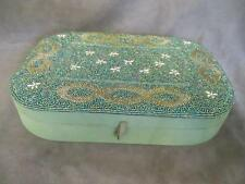 H8 Large Fabric Bead Embroidery Jewelry Box Case Green Silk Scroll Flower Design