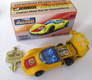 Vintage Corgi Rockets 904 Porsche Carrera 6 Car & Key Gt Britain 19 label