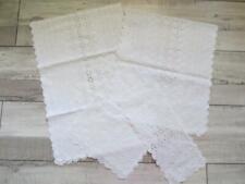 English Eyelet Embroidery Runner Set White-on-White Cotton 4 Pc