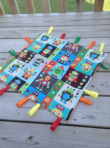 """Baby Boy Taggie Tag Security Blanket. 15"""" x 15"""" with Monogramming!"""