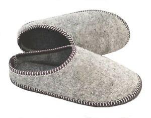 Women Ladies Slippers Warm Grey Felt Wool Slip On Mules Indoor Lightweight