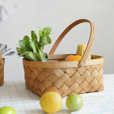 Hand-woven Wood Basket Organizer For Home Kitchen With Handle Durable Containers