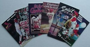 ST. LOUIS CARDINALS POCKET SCHEDULES (6) 1974, 1987, 1998, 1999, 2000, 2001