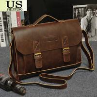 Men's Leather Messenger Shoulder Bags Business Work Briefcase Laptop Bag Handbag