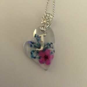 HEART  SHAPED PENDANT WITH REAL FLOWERS AND YOUR NAME INITIAL C