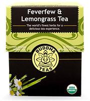 Feverfew & Lemongrass Tea by Buddha Teas, 18 tea bag 1 pack