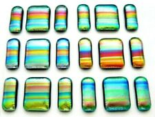 UNCAPPED 6 MATCHING PAIRS EARRINGS PENDANT CABS (G13) FUSED DICHROIC GLASS