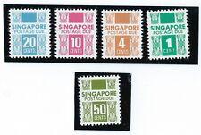 stamps- 1983-1988 Singapore Postage Due set 5v unwatermark MNH OG