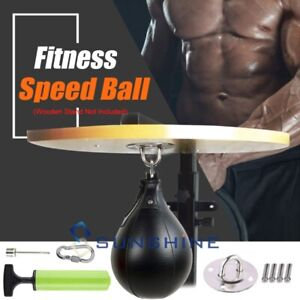 Leather Boxing Speed Bag Punching Ball w/Swivel&Inflator Training MMA Speed Ball