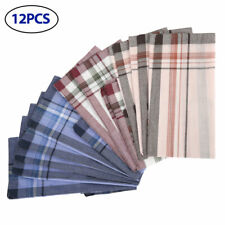 12Pcs Mens Square Plaid Stripe Handkerchiefs Hanky Pocket Cotton Towel 38*38cm