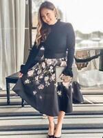 New Ted Baker NERIDA Opal Print Full Skirted Knit Dress Black