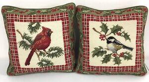 """Needlepoint Christmas Cardinal Bird Pillow Set of 2 Green Zipper Back 13"""" x 13"""""""