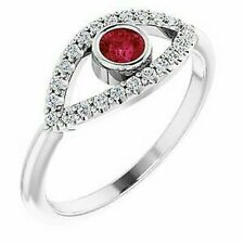 Ruby & White Sapphire Evil Eye Ring In Platinum