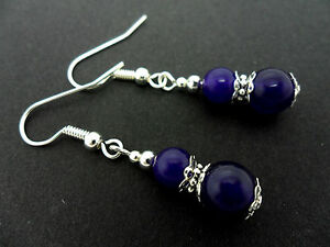 A PAIR OF PURPLE/AMETHYST JADE SILVER PLATED  DANGLY  EARRINGS. NEW.
