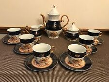 "Cobalt Blue / Gold ""PORTRAIT"" Tea Set ~ Cups, Saucers, Creamer, Sugar Bowl, Pot"