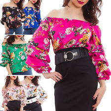 Blusa donna floreale raso fiori maniche arricciate elegante top sexy VB-1066