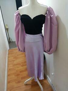 Women's Lilac Satin Midi Skirt Sz M UK 10