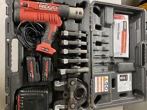 "Ridgid 43358 Rp 340 Battery Press Tool Kit With Six Propress Jaws (1/2""-2"")"