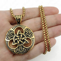 Gold Celtic Knot Triquetra Double Sided 316L Stainless Steel Pendant Necklace