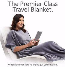 Travelrest GREY 4-in-1 Premier Class Poncho Travel Blanket w/ Pocket - Luxurious