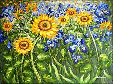 Van Gogh Sunflowers and Irises Field Repro 3, Hand Painted Oil Painting 36x48in
