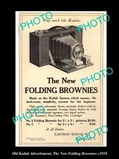 OLD LARGE HISTORIC KODAK CAMERA ADVERTISMENT, THE NEW FOLDING BROWNIES c1910