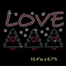 LOVE Christmas Trees Rhinestone Transfer Hotfix Iron on Motif+free gift