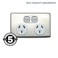 Power Point Outlet Twin Socket Switch Double GPO Silver Cover