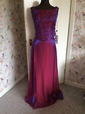 Pink Purple Shimmer Beaded Long Evening Party Top & Skirt 2 Piece Dress 18