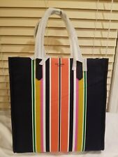 NWT Kate Spade Parisian Navy Multi Kitt Stripe Large North South Canvas Tote