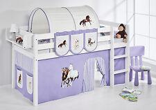 Juego de cama Alta Cuna JELLE 190x90 cm blanco lilokids Caballos Púrpura