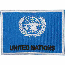 United Nations Flag Embroidered Iron Sew on Patch Army Military Embroidery Badge