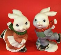 BUNNY RABBITS ICE SKATING FIGURINES HOMCO #5305 SET OF 2 BOY AND GIRL VINTAGE