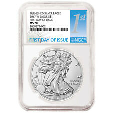 2017-W Burnished $1 American Silver Eagle NGC MS70 FDI First Label