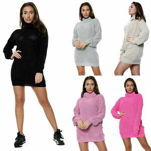 Damen Damen Halterlose Strick Polo Roll Neck Langarm Stretch Kleid Pullover