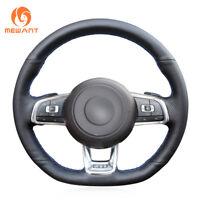 Black PU Leather Steering Wheel Cover for VW Golf 7 GTI Golf R MK7 Polo #DZ127