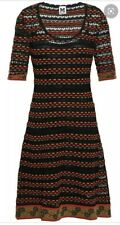 Missoni Crochet Knit Dress Black Orange Green Size 44 8 10 With Slip