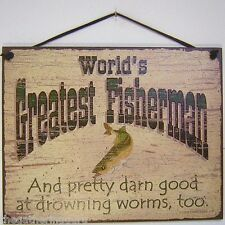 Fishing Sign Worlds Greatest Fisherman Man Cave Fish Wall Plaque Made USA Vtg