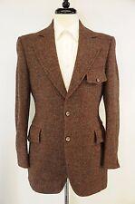 VTG Half Norfolk Harris Tweed Reddish Brown Gray Donegal Thick Wool Blazer 36