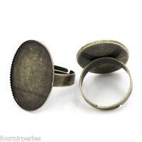 10 Bagues Réglable Support Cabochon Couleur Bronze 18.3mm B23862