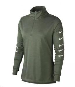 Nike Running DriFit Swoosh Long Sleeve Half Zip Top Green Size Large